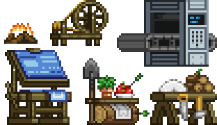 Some of the available crafting stations