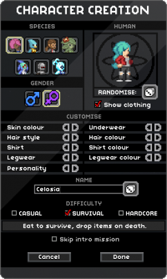 In-game Character Creator