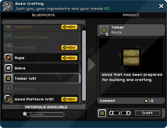 The basic crafting window